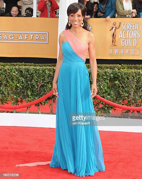 Shaun Robinson arrives at the 19th Annual Screen Actors Guild Awards at The Shrine Auditorium on January 27 2013 in Los Angeles California