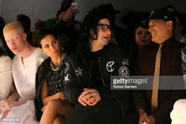 Shaun Ross Ally Hilfiger Skrillex and Phillip Bloch sit front row at the Skingraft fashion show during MercedesBenz Fashion Week Spring 2015 at The...
