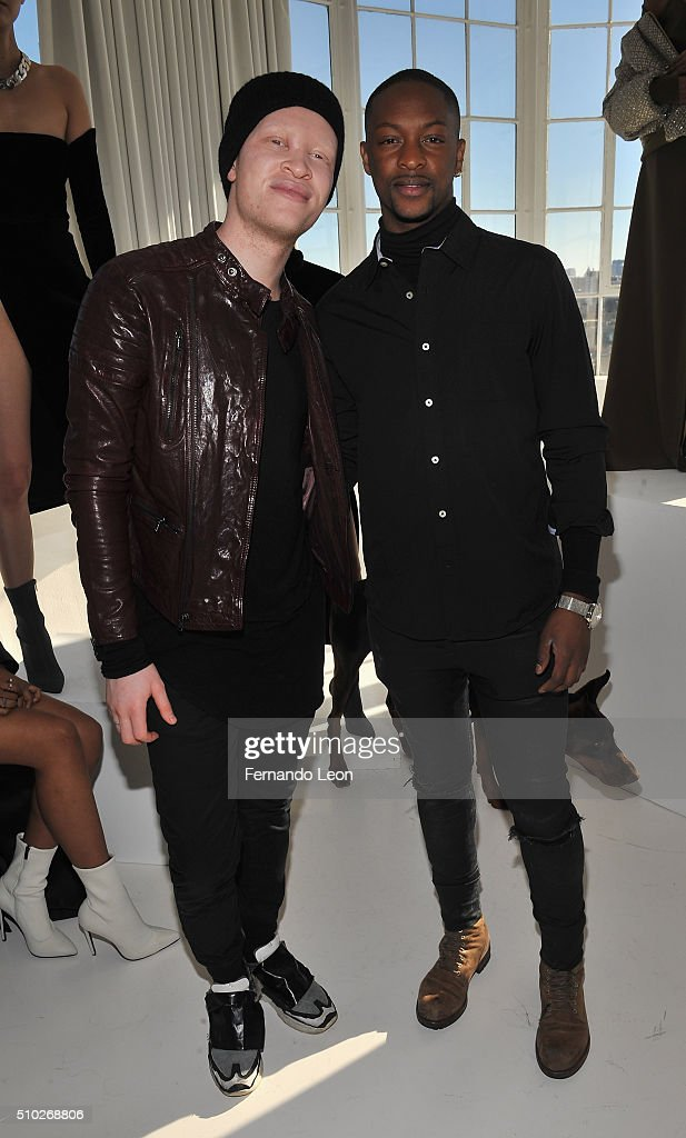 Shaun Ross and designer Laquan Smith (R) attend the Laquan Smith Presentation at Jack Studios during Fall 2016 New York Fashion Week on February 14, 2016 in New York City.