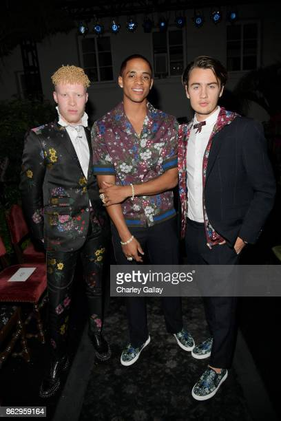 Shaun Ross Cordell Broadus and Brandon Thomas Lee at HM x ERDEM Runway Show Party at The Ebell Club of Los Angeles on October 18 2017 in Los Angeles...