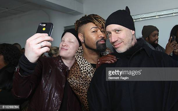 Shaun Ross Ty Hunter and Robert Verdi pose during SheaMoisture at Laquan Smith F/W 2016 NYFW at Jack Studios on February 14 2016 in New York City