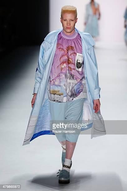 Shaun Ross walks the runway at the Sadak show during the MercedesBenz Fashion Week Berlin Spring/Summer 2016 at Brandenburg Gate on July 8 2015 in...