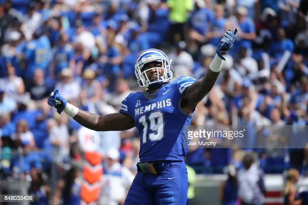 Shaun Rupert of the Memphis Tigers celebrates against the UCLA Bruins on September 16 2017 at Liberty Bowl Memorial Stadium in Memphis Tennessee...