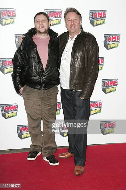 Shaun Ryder and Peter Hook of New Order during Shockwaves NME Awards 2007 Red Carpet Arrivals at Hammersmith Palais in London Great Britain