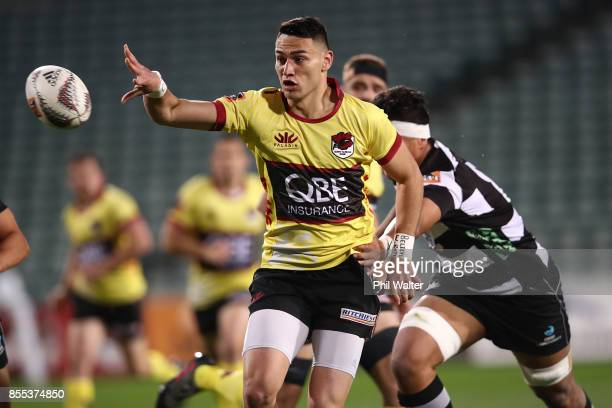 Shaun Stevenson of North Harbour offloads during the round seven Mitre 10 Cup match between North Harbour and Hawke's Bay at QBE Stadium on September...