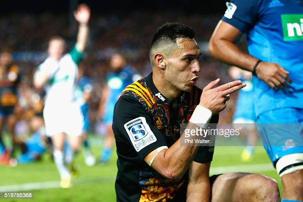 Shaun Stevenson of the Chiefs celebrates his try during the round seven Super Rugby match between the Chiefs and the Blues on April 8 2016 in...