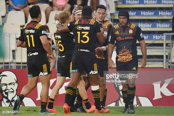 Shaun Stevenson of the Chiefs celebrates scoring a try during the round one Super Rugby match between the Crusaders and the Chiefs at AMI Stadium on...