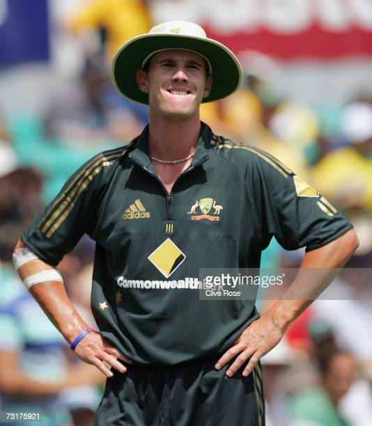 Shaun Tait of Australia reacts after dropping a catch off Ed Joyce of England during game ten of the Commonwealth Bank One Day International Series...