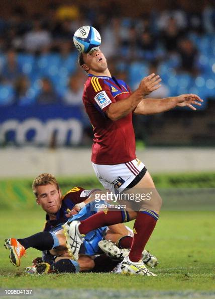 Shaun Treeby of the Highlanders controls the ball with his head during the Super Rugby match between the Bulls and Highlanders at Loftus Versfeld...