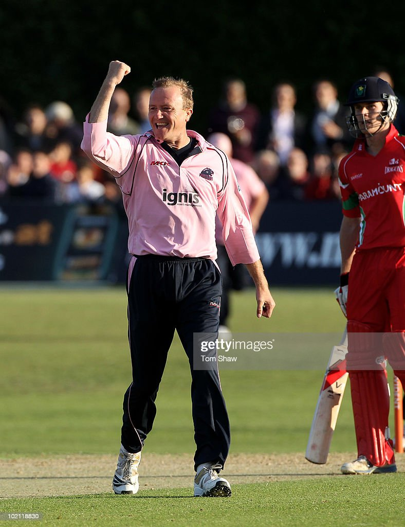 Shaun Udal of Middlesex celebrates taking the wicket of Gareth Rees of Glamorgan during the Friends Provident T20 match between Middlesex and Glamorgan at Old Deer Park on June 15, 2010 in Richmond upon Thames, England.