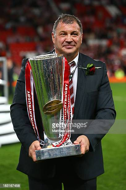 Shaun Wane the Wigan head coach poses with the trophy following his team's 3016 victory during the Super League Grand Final between Warrington Wolves...