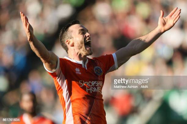 Shaun Whalley of Shrewsbury Town celebrates after scoring a goal to make it 11during the Sky Bet League One match between Plymouth Argyle and...