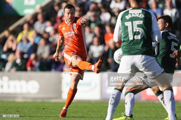 Shaun Whalley of Shrewsbury Town scores a goal to make it 11during the Sky Bet League One match between Plymouth Argyle and Shrewsbury Town at Home...