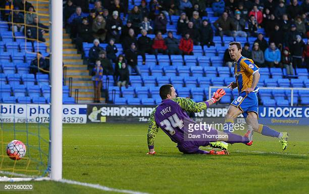 Shaun Whalley of Shrewsbury Town scores his team's second goal during the Emirates FA Cup Fourth Round match between Shrewsbury Town and Sheffield...
