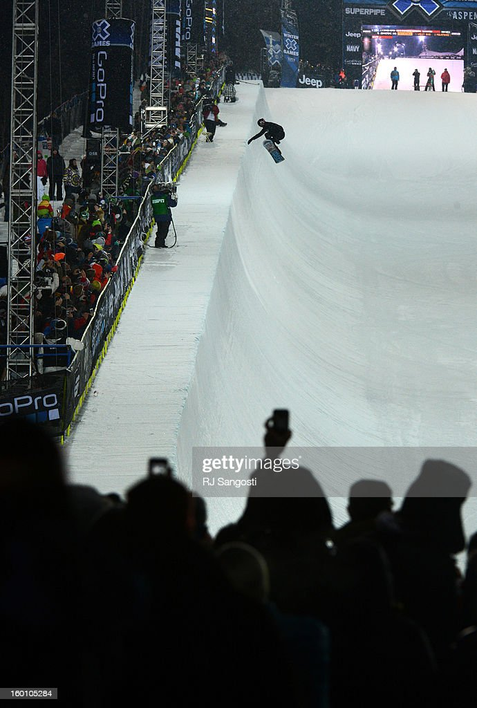 Shaun White catches big air during the Snowboard SuperPipe Men's Eliminations, January 24, 2013, at the 2013 Winter X Games at Buttermilk Mountain in Aspen.