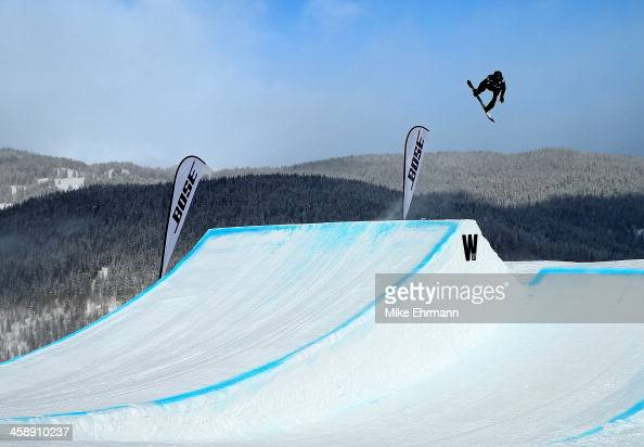 Shaun White competes during finals for the mens FIS Snowboard Slopestyle World Cup at US Snowboarding and Freeskiing Grand Prix on December 22 2013...