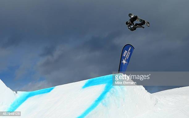 Shaun White competes during qualifying for the mens FIS Snowboard Slopestyle World Cup at US Snowboarding and Freeskiing Grand Prix on December 19...