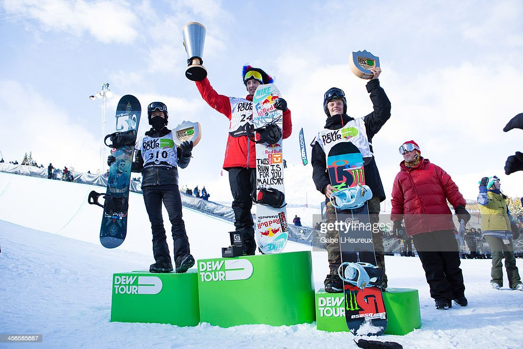 Shaun White, Greg Bretz, and Taylor Gold standing on top of the podium, in the 2013 Dew Tour half-pipe finals on December 14, 2013 in Breckenridge, Colorado.