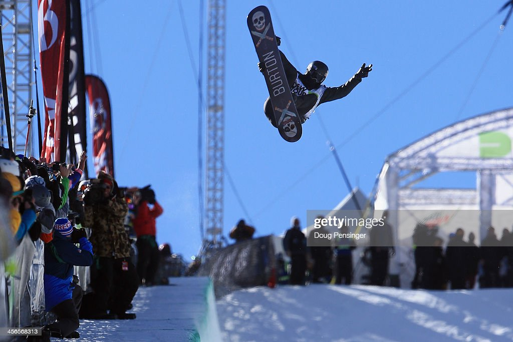 Shaun White in action during his second run as he finished second in the men's snowboard superpipe final at the Dew Tour iON Mountain Championships on December 14, 2013 in Breckenridge, Colorado.