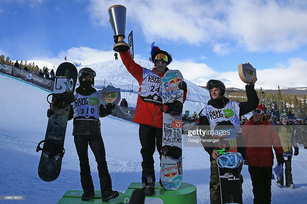 Shaun White in second place, Greg Bretz in first place and Taylor Gold in third place take the podium in the men's snowboard superpipe final at the Dew Tour iON Mountain Championships on December 14, 2013 in Breckenridge, Colorado.