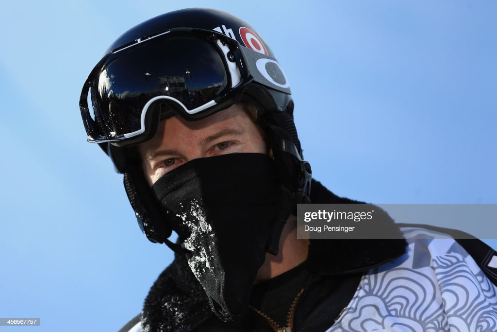 Shaun White looks on as he finished second in the men's snowboard superpipe final at the Dew Tour iON Mountain Championships on December 14, 2013 in Breckenridge, Colorado.