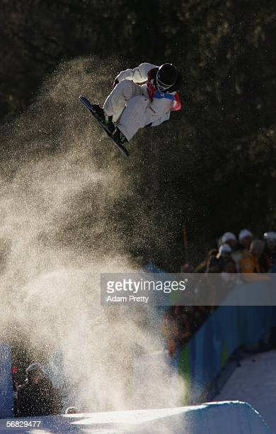 Shaun White of the United States competes in the Mens Snowboard Half Pipe Qualifying on Day 2 of the 2006 Turin Winter Olympic Games on February 12...