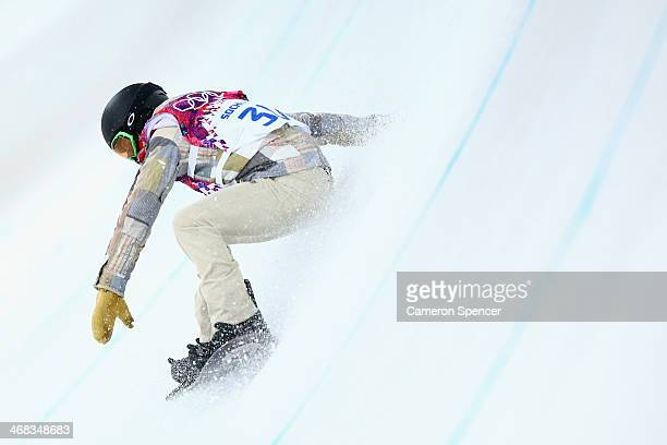 Shaun White of the United States crashes during Snowboard Halfpipe practice during day 3 of the Sochi 2014 Winter Olympics at Rosa Khutor Extreme...