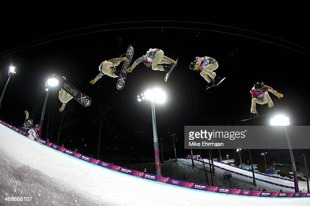 Shaun White of the United States practices before the Snowboard Men's Halfpipe Finals on day four of the Sochi 2014 Winter Olympics at Rosa Khutor...