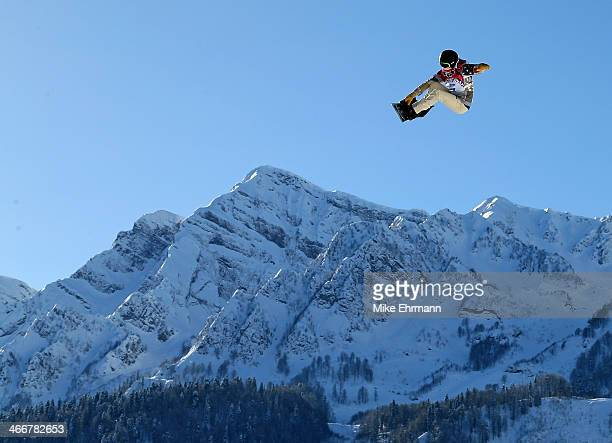 Shaun White of the United States practices during training for Snowboard Slopestyle at the Extreme Park at Rosa Khutor Mountain on February 4 2014 in...