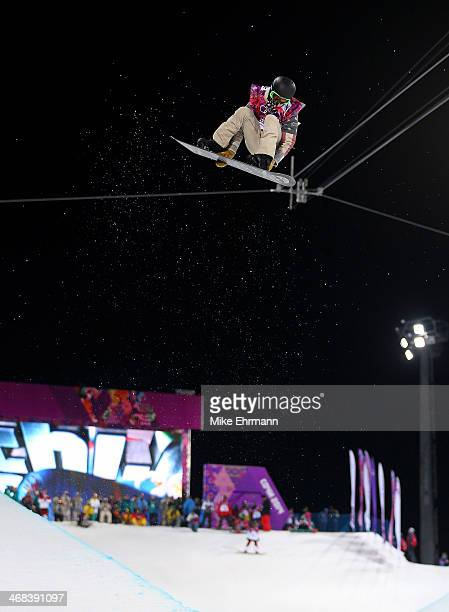 Shaun White of the United States practices during training for the Halfpipe competition at the Extreme Park at Rosa Khutor Mountain on February 10...