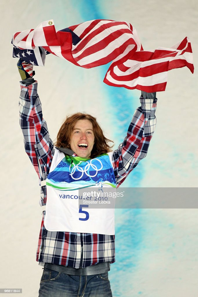 <a gi-track='captionPersonalityLinkClicked' href=/galleries/search?phrase=Shaun+White+-+Snowboarder&family=editorial&specificpeople=247245 ng-click='$event.stopPropagation()'>Shaun White</a> of the United States reacts after winning the gold medal in the Snowboard Men's Halfpipe final on day six of the Vancouver 2010 Winter Olympics at Cypress Snowboard & Ski-Cross Stadium on February 17, 2010 in Vancouver, Canada. White won the gold medal with a score in his previous run.