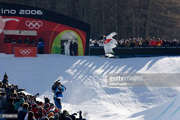 Shaun White of the USA competes in the qualifying rounds of the men's halfpipe He later goes on to win the Gold medal in the Men's Halfpipe finals...
