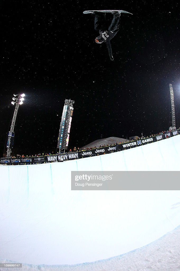 Shaun White of the USA does a backside air above the pipe during Men's Snowboard Superpipe Elimination at Winter X Games Aspen 2013 at Buttermilk Mountain on January 24, 2013 in Aspen, Colorado.