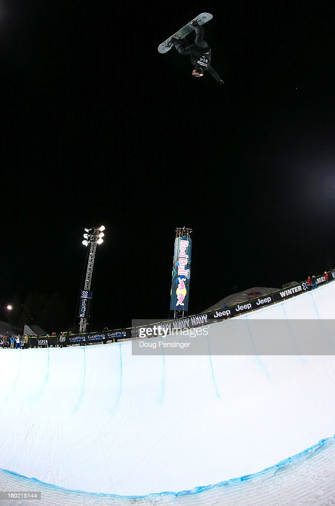 Shaun White of the USA does a backside air during practice as he went on to win the gold medal in the Men's Snowboard Superpipe Final at Winter X Games Aspen 2013 at Buttermilk Mountain on January 27, 2013 in Aspen, Colorado. It was the sixth consecutive Winter X Games Snowboard Superpipe gold medal for White.