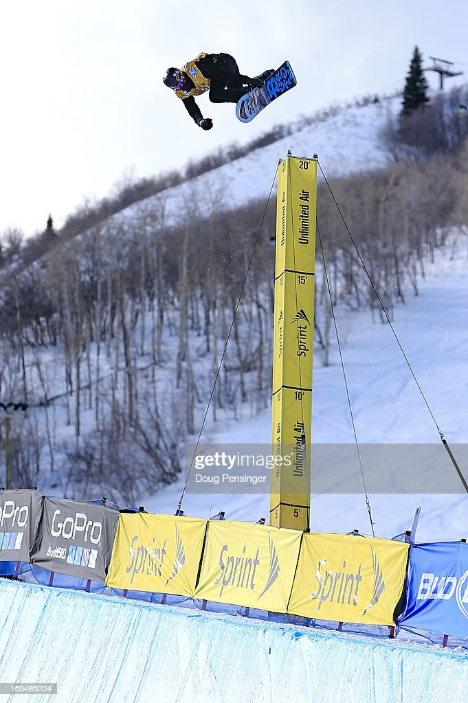 Shaun White of the USA does a backside air more than 20' above the pipe en route to winning the FIS Snowboard Halfpipe World Cup at the Sprint U.S. Grand Prix at Park City Mountain on February 1, 2013 in Park City, Utah.