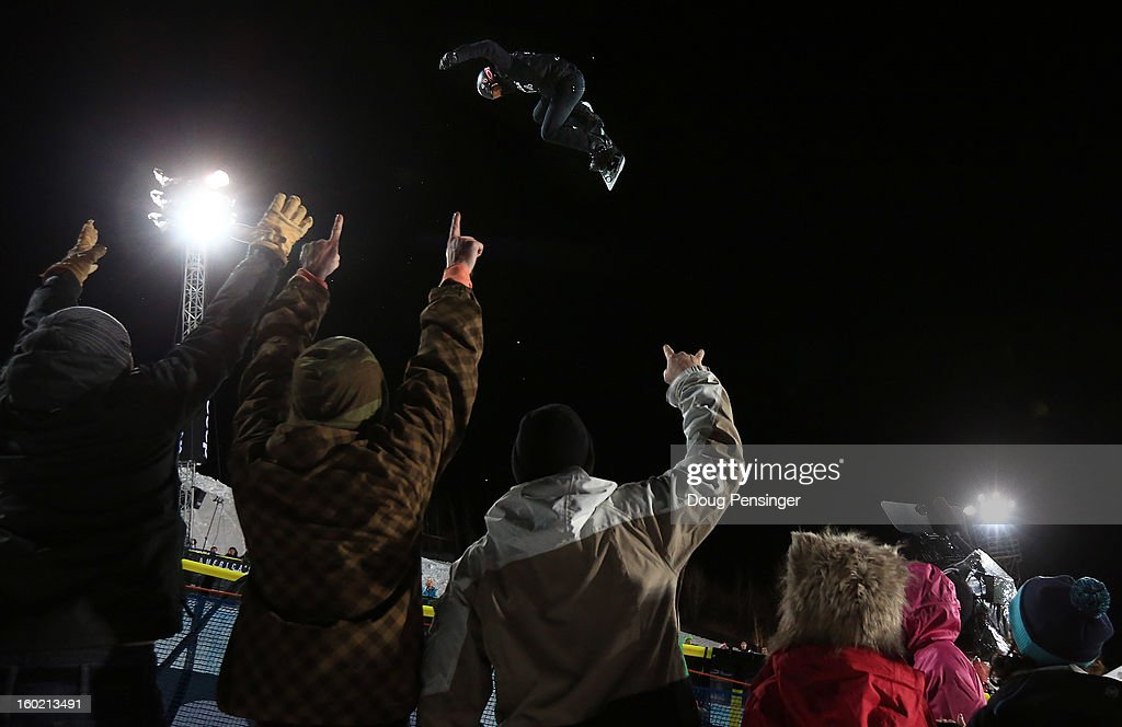Shaun White of the USA soars above the spectators as he won the gold medal in the Men's Snowboard Superpipe Final at Winter X Games Aspen 2013 at Buttermilk Mountain on January 27, 2013 in Aspen, Colorado. It was the sixth consecutive Winter X Games Snowboard Superpipe gold medal for White.