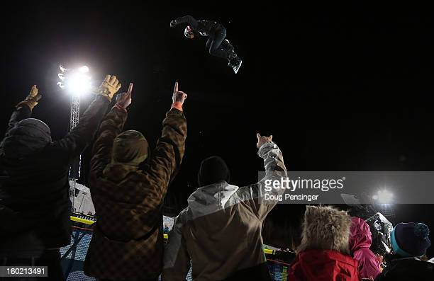 Shaun White of the USA soars above the spectators as he won the gold medal in the Men's Snowboard Superpipe Final at Winter X Games Aspen 2013 at...