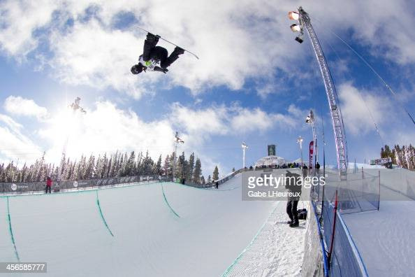 Shaun White on his way to a 2nd place finish in the 2013 Dew Tour halfpipe finals on December 14 2013 in Breckenridge Colorado
