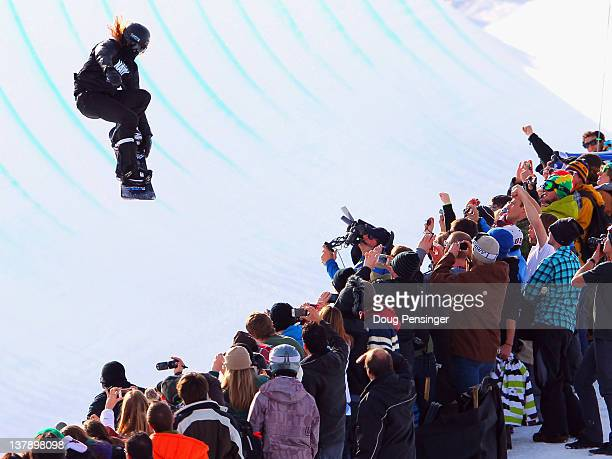 Shaun White soars above the spectators as he competes in men's snowboard superpipe elimination during Winter X Games 2012 at Buttermilk Mountain on...