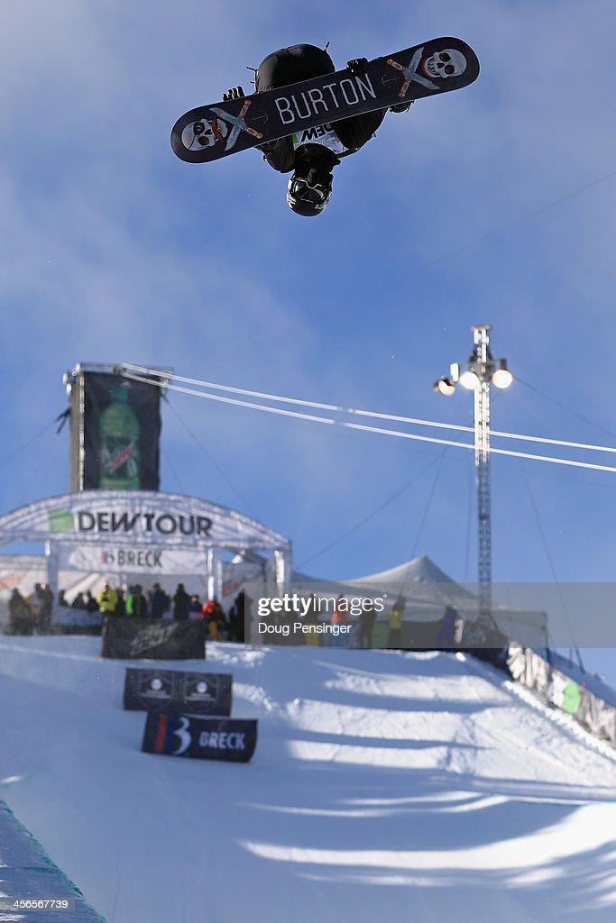 Shaun White takes a practice run as he went on to finish second in the men's snowboard superpipe final at the Dew Tour iON Mountain Championships on December 14, 2013 in Breckenridge, Colorado.