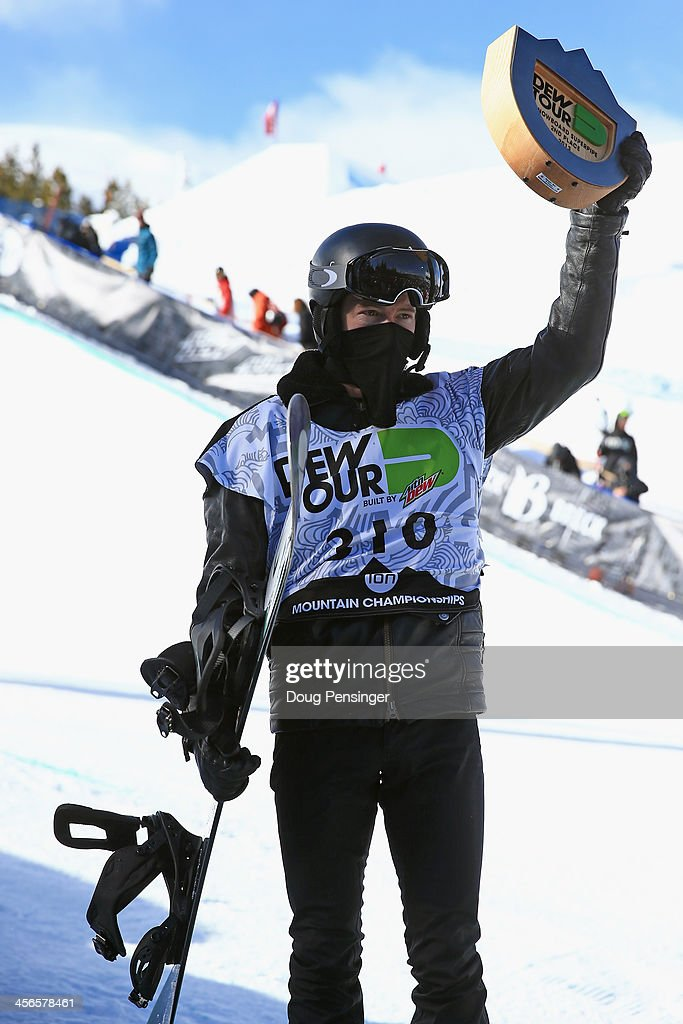 Shaun White takes the podium for second place in the men's snowboard superpipe final at the Dew Tour iON Mountain Championships on December 14, 2013 in Breckenridge, Colorado.