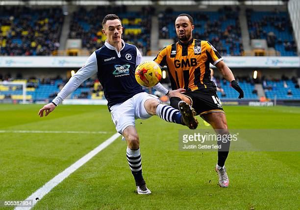 Shaun Williams of Millwall FC and Byron Moore of Port Vale in action during the Sky Bet League One match between Millwall and Port Vale on January 17...