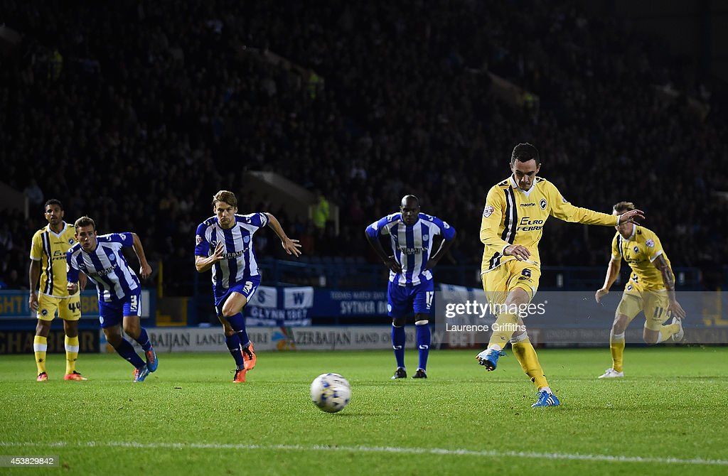 Shaun Williams of Millwall hits the post with a second half penalty during the Sky Bet Championship match between Sheffield Wednesday and Millwall at Hillsborough Stadium on August 19, 2014 in Sheffield, England.