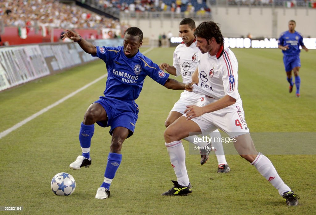 Shaun Wright Phillips #24 of Chelsea FC works the ball out of the corner against Kakha Kaladze #4 of AC Milan during their World Series of Football friendly match on July 24, 2005 at Gillette Stadium in Foxboro, Massachusetts.