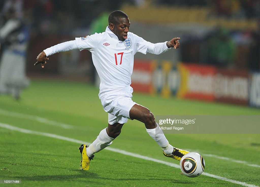 Shaun Wright Phillips of England runs with the ball during the 2010 FIFA World Cup South Africa Group C match between England and USA at the Royal...