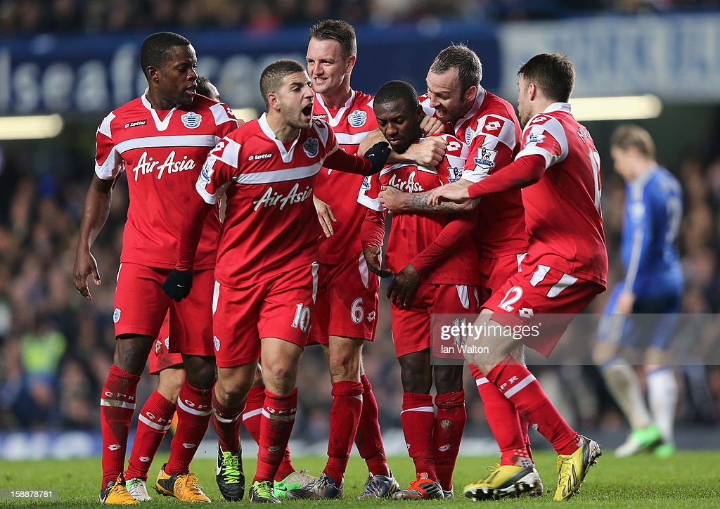 Shaun Wright Phillips of Queens Park Rangers (third right) with team mates after he scores the opening goal during the Barclays Premier League match between Chelsea and Queens Park Rangers at Stamford Bridge on January 2, 2013 in London, England.