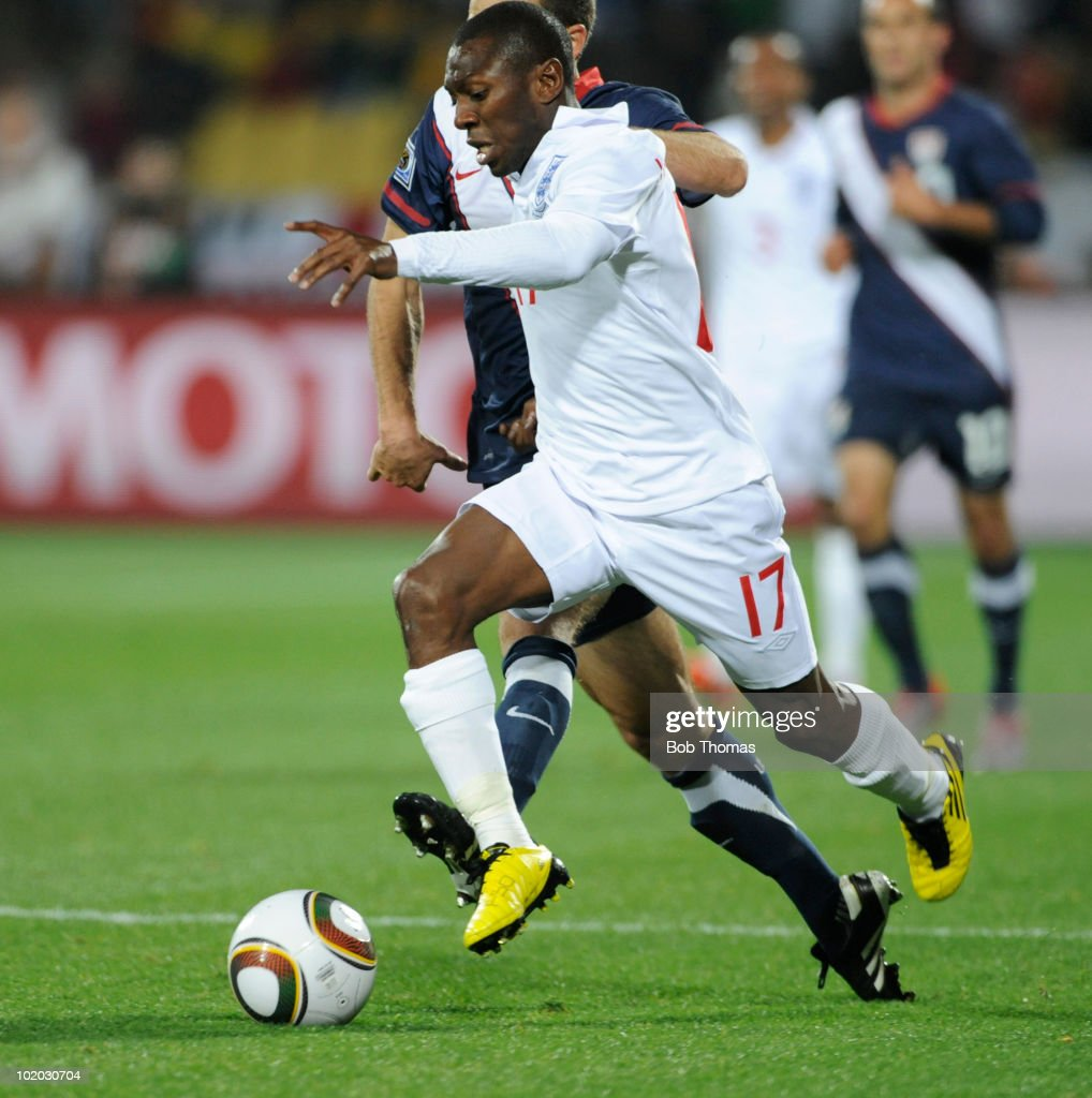 Shaun WrightPhillips of England during the 2010 FIFA World Cup South Africa Group C match between England and USA at the Royal Bafokeng Stadium on...