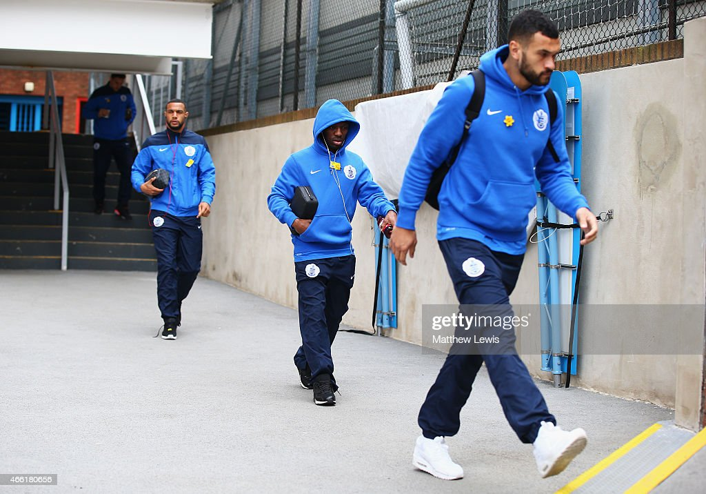 Shaun WrightPhillips of QPR arrives with team mates for the Barclays Premier League match between Crystal Palace and Queens Park Rangers at Selhurst...