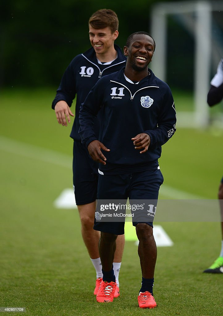 Shaun WrightPhillips of Queens Park Rangers warms up during a Queens Park Rangers training session on May 22 2014 in Harlington England
