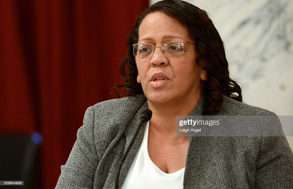 Shauna Barry-Scott speaks during #JusticReformNow Capitol Hill Advocacy Day at Russell Senate Office Building on April 28, 2016 in Washington, DC.